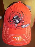 Spider Wire Headwear Stretch Fit S-m Curved Bill Red Black Trucker Hat Cap Sm Md