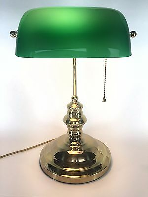 Bankers Brass Finish Desk Student Table Lamp Green Glass Shade