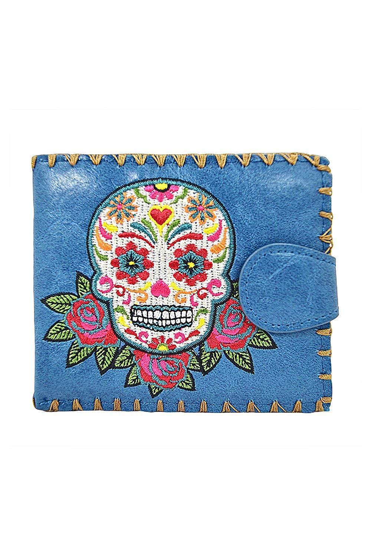 Lavishy Rose Sugar Skull Day of the Dead Embroidered Medium Wallet