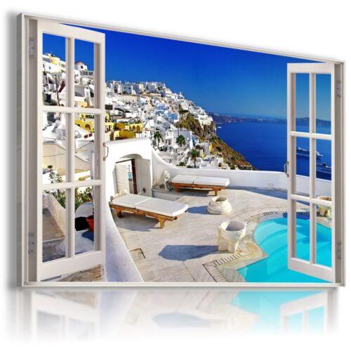 GREECE SANTORINI 3D Window View Canvas Wall Art  W175 MATAGA NO FRAME  MATAGA .