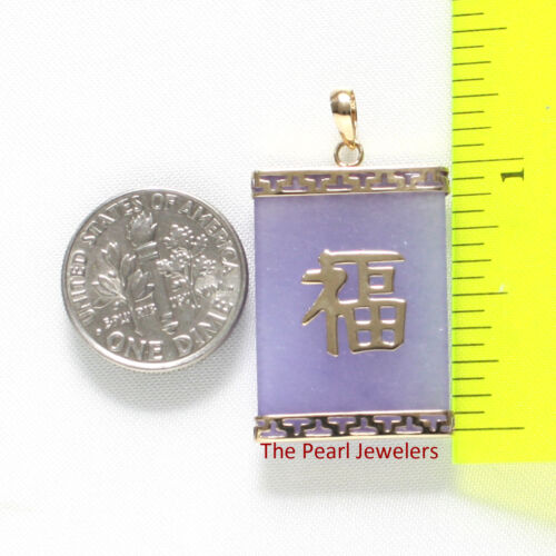 Rectangle Lavender Jade Pendant Crafted of 14k Solid Yellow Gold Good Fortune