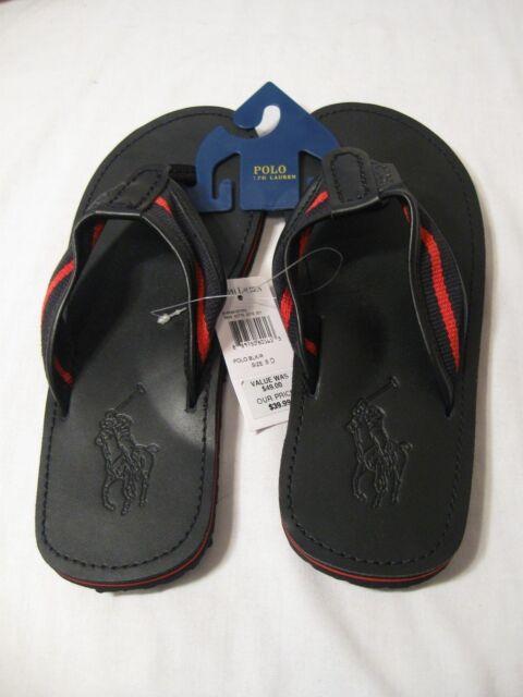 d52d6226238 Polo Ralph Lauren Men s Sullivan II Black Red Leather Sandals Flip Flops NWT