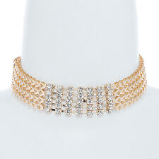Women Wide Full Metal Chevron Chain Crystal Neck Choker Cuff Necklace Long Chain