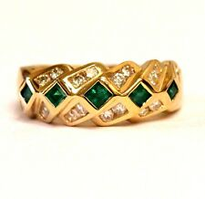 14k yellow gold .40ct SI2 I diamond emerald ring band 6.7g ladies estate vintage