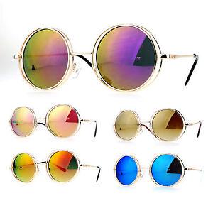 ef9243404f SA106 Mirrored Double Round Metal Rim Circle Lens Hippie Sunglasses ...