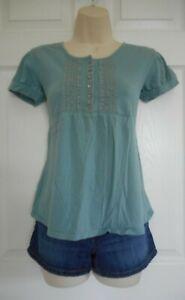 Women-039-s-Van-Heusen-Blue-Short-Sleeve-Shirt-Size-XS-Regular