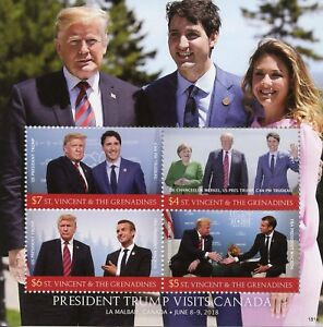 St-Vincent-amp-Grenadines-2018-MNH-Donald-Trump-Canada-Trudeau-Macron-4v-MS-Stamps