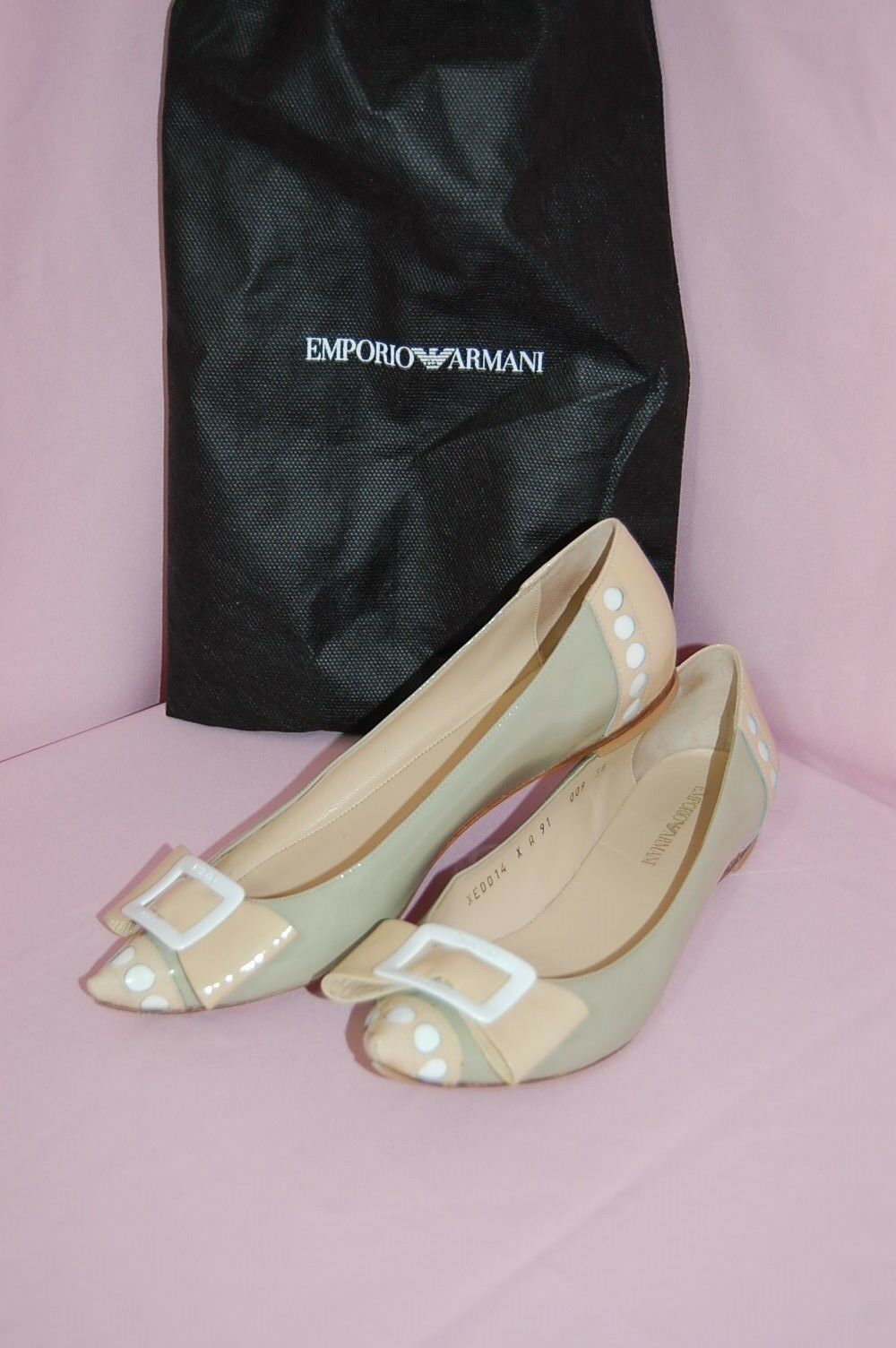 EMPORIO EMPORIO EMPORIO ARMANI Patent Leather Cut Out Rounds Bow Pointy Toe Flats~38 cb0dbb