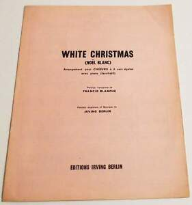 Partition-vintage-sheet-music-FRANCIS-BLANCHE-White-Christmas-60-039-s