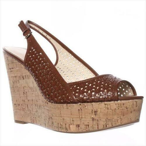para proporcionarle una compra en línea agradable Nine West 'axey' Cuña Cuña Cuña De Cuero Marrón Sandalias JS54 48  la mejor selección de