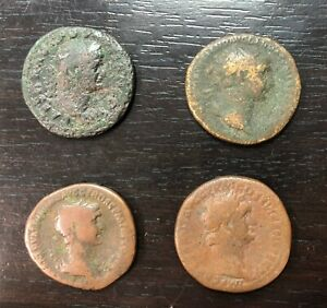 Antiguo-Romana-Lote-de-4-As-en-Identificar