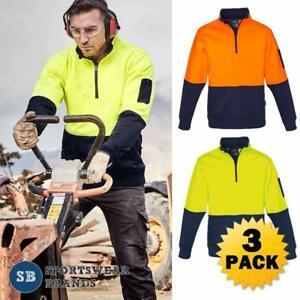 3-x-Mens-Hi-Vis-Half-Zip-Pullover-1-2-Jumper-Contrast-Workwear-Tradie-New-ZT476
