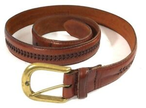 HG-Men-039-s-Oil-Tanned-Cowhide-Brown-Leather-Belt-Size-35-90