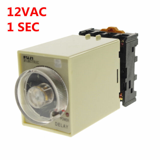 1PCS 1A 12VAC Power Off delay timer time relay 0-1 Second Socket Base