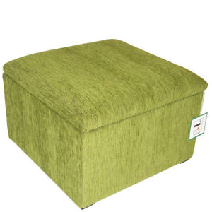 Image Is Loading Large Lime Green Chenille Pouffe Storage Box Footstool