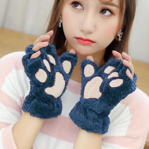 Mujeres Niña Guantes De Garra de la pata de gato adorable Peluche Invierno Cálido corto medio dedo manopla