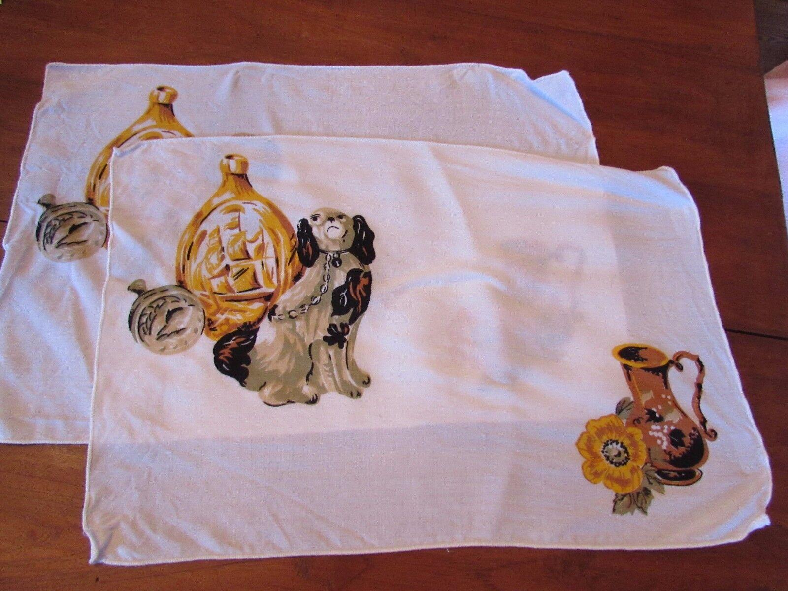 2 vintage women handkerchief puppy dog key hole collar gold flower rectangle