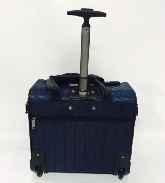 2a810ec71e67 NEW NICOLE MILLER SIGNATURE QUILT LUGGAGE UNDER SEAT CARRY ON NAVY  240