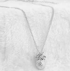 Cute-3D-Silver-Pineapple-Hawaii-Necklace-Pendant-Charm-Kawaii-amp-Gift-Bag