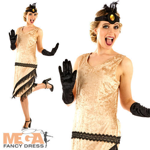 1920/'s Charleston Ragazza Signore FANCY DRESS 20/'s Gangster Showtime Adulti Costume