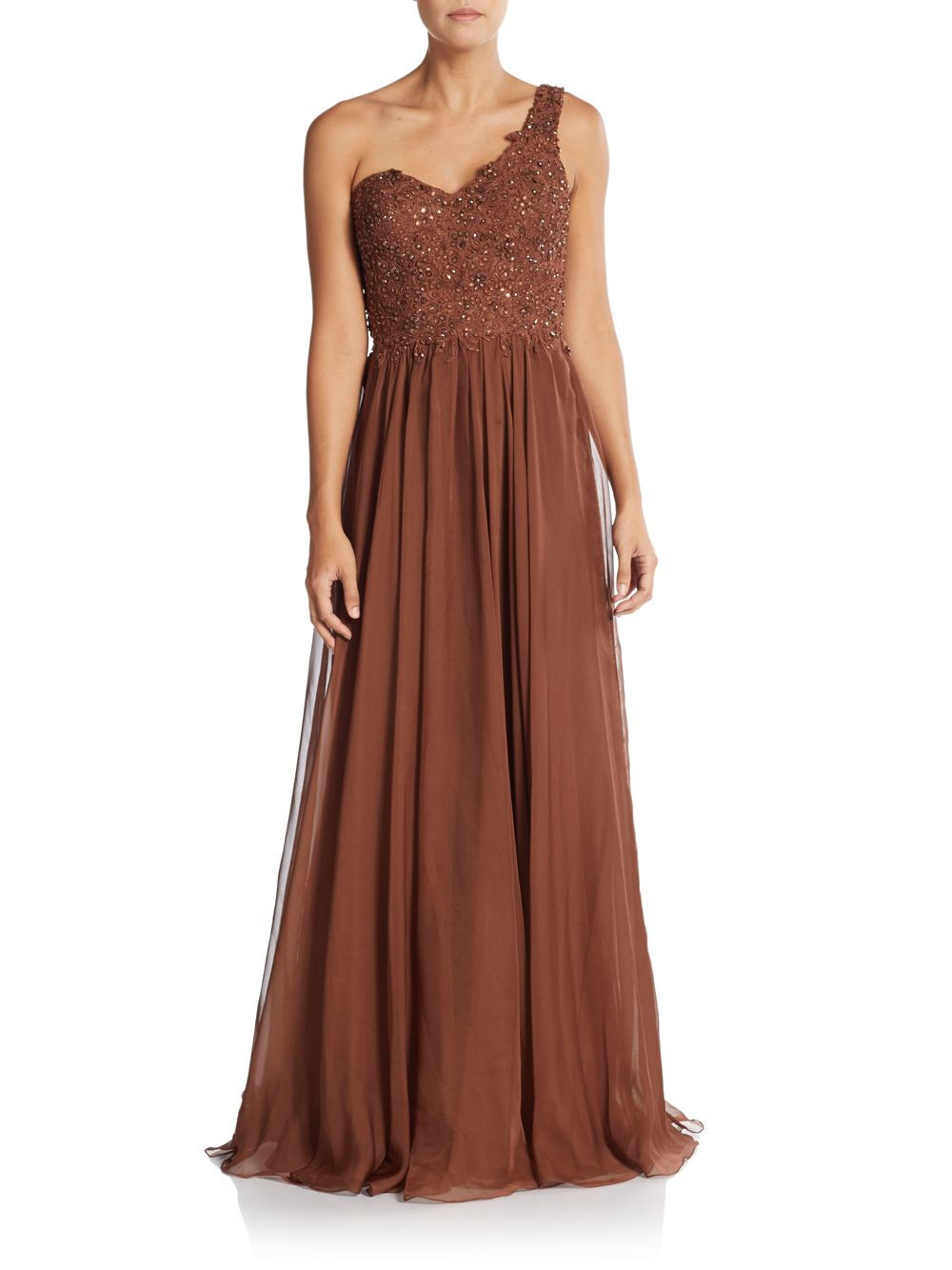 La Femme Brown Lace Beaded One Shoulder Gown Size 2  605