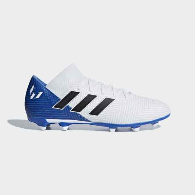 Adidas Men's Nemeziz Messi 18.3 FG Soccer Cleats (White/Black/Blue) DB2111*