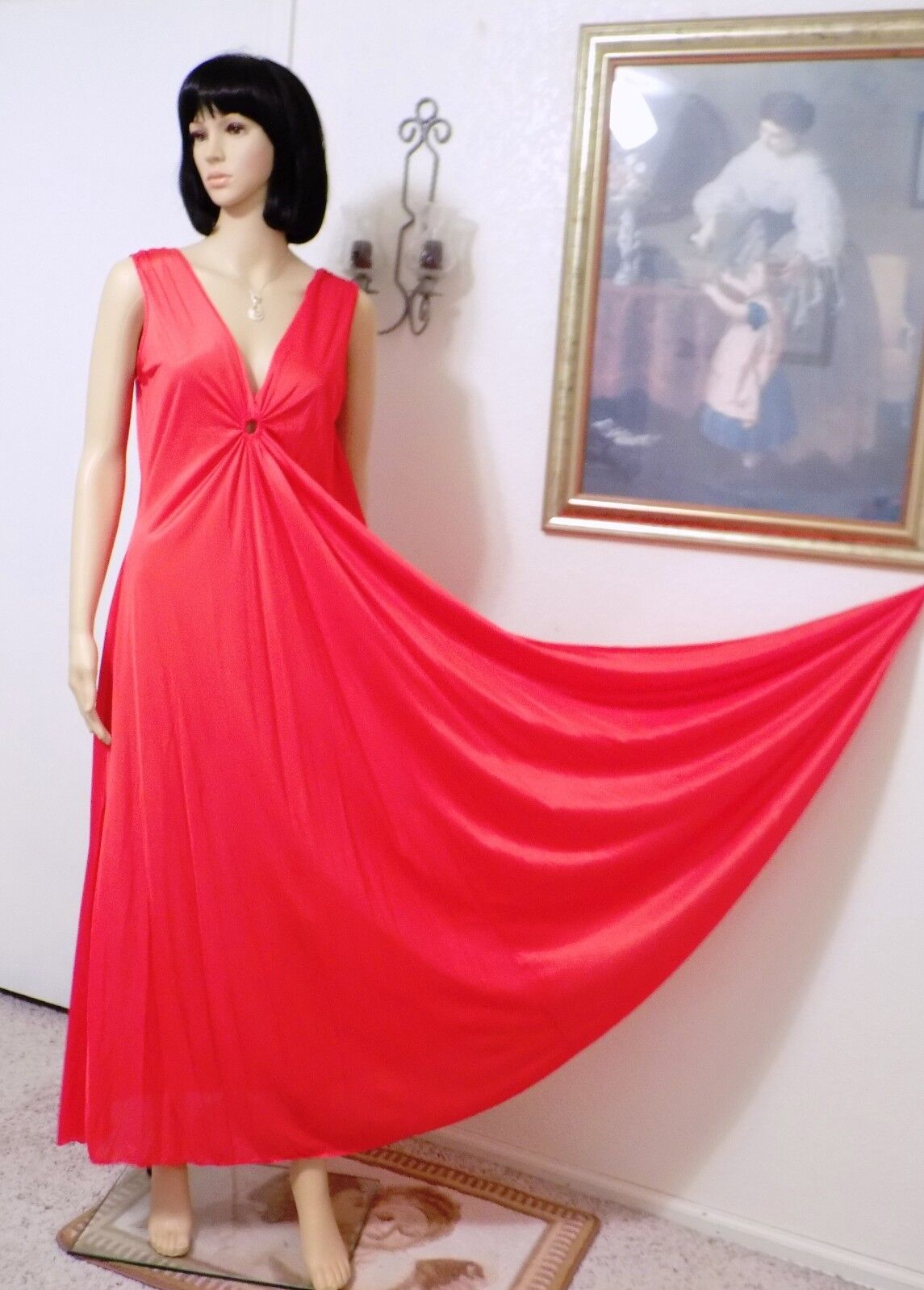 DEENA vintage  RARE  RUBY RED Keyhole Grecian Nightgown Style 1420 size M medium
