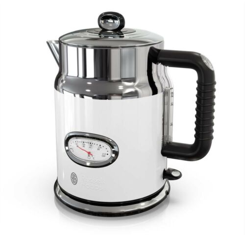 White//Stainless 5-Cup Premium Electric Glass Kettle w// Water Temperature Gauge