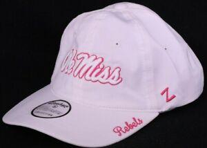 NEW Mississippi Ole Miss Rebels White Zephyr Adjustable Cap Hat Women's OSFA