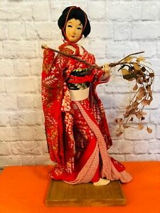 Vintage-Hand-Made-Large-23-034-Japanese-Paper-Wood-Geisha-Doll-with-Wood-Base