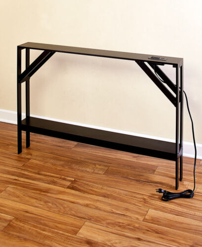 Slim Console Concealed Sofa Table USB Cell phone /& Cord Outlets Black or Walnut
