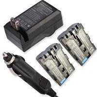 2 Battery+home&car Charger For Sony Dslr-a700z Dslr-a850 Dslr-a850q Dslr-a900