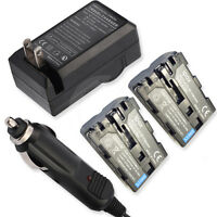 2 Battery+wall&car Charger For Sony Alpha Α Slt-a57 Slt-a57k Slt-a57y Dslra200w