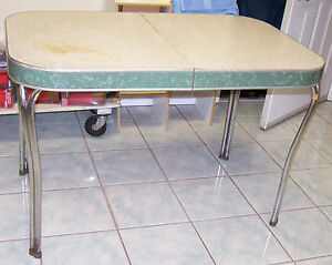 Vintage Formica Amp Chrome Table 1952 Cracked Ice W Staining