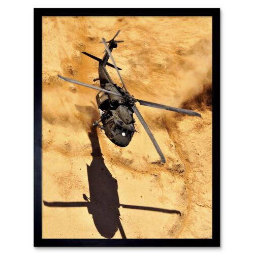 War Photography Military Aircraft Uh60 Black Hawk Helicopter Desert Framed Print