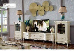 Klassische Wohnwand Vitrinen Regal Schrank Wohnzimmer Barock Stil