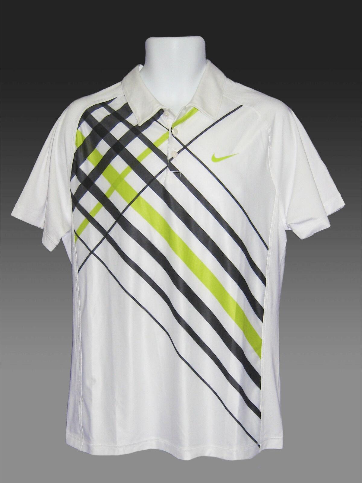 New NIKE TENNIS DriFit Polo Shirt White with Grey Diagonals M
