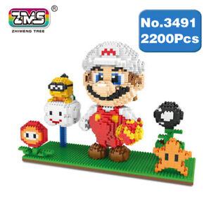 ZMS Game Super Mario Fire Mario White DIY Diamond Mini Building Nano Blocks Toy