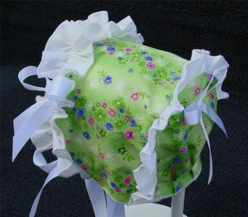 Green Floral Print with White Ruffle /& White Satin Ribbon Bows Summer Bonnet