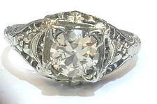 Vintage ANTIQUE  ROUND OLD mine CUT 0.95ct  Diamond  18k white gold   ring