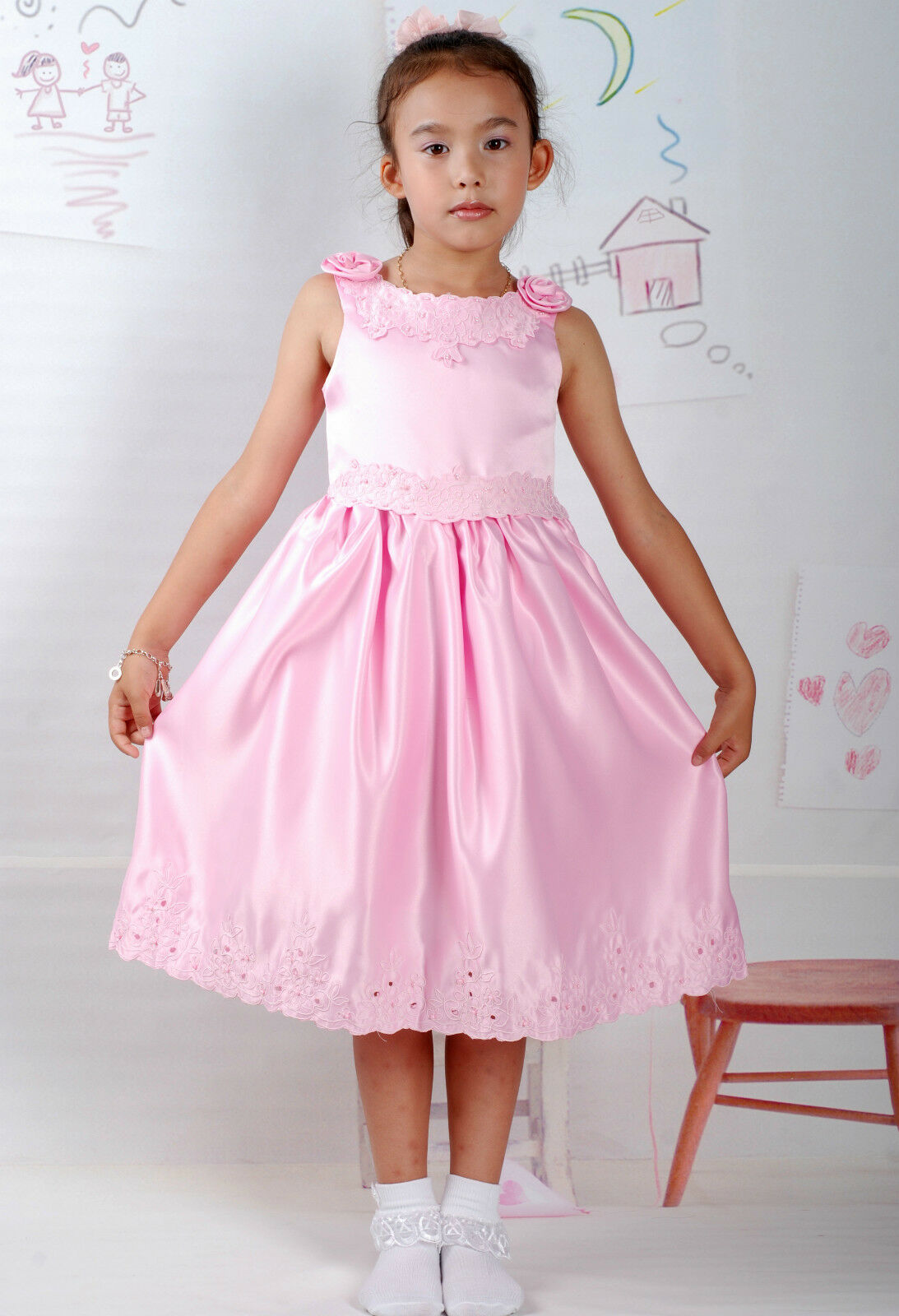 New Satin Flower Girl Party Bridesmaid Wedding Pageant Dress 18 Month to 5 Years