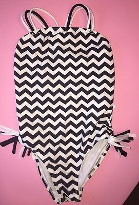 NWT Kate Mack One Piece Chevron Swimsuit Bathing Suit Summer Black And White 6X