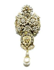 Stanley-Hagler-Large-Faux-Pearl-Brooch-Tiny-Seed-Pearls-Clear-Crystals-Gold-Tone