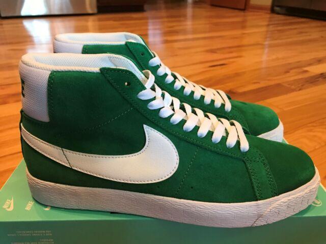 online retailer f77ab 1a95e Nike SB Zoom Blazer Mid Pine Green White 864349 311 Men's Size 8.5