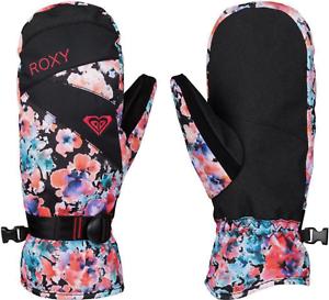 #30399-N6 NWT Womens Large Black // Floral Print Roxy Jetty Mitt Mittens D9