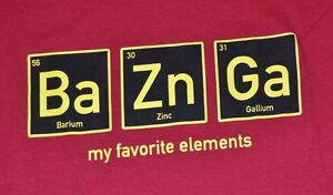 Big bang theory bazinga adulto camiseta tabla peridica bario zinc la foto se est cargando big bang theory bazinga adulto camiseta tabla periodica urtaz Images