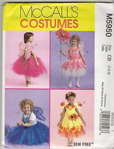McCalls-Sewing-Pattern-5950-Fairy-Costume-Top-Wings-Tutu-Skirt-Size-1-3-New