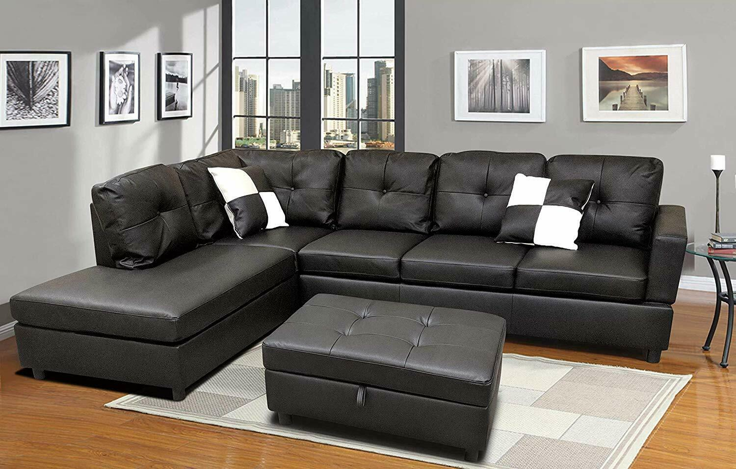 Modern Black Leather 3 Seater Sectional