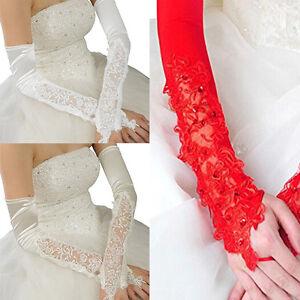 Women-039-s-Opera-Bridal-Stretch-Satin-Lace-Fingerless-Applique-Wedding-Gloves