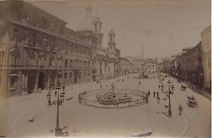 Italia-Piazza-Navona-Roma-Foto-Vintage-Albumina-Ca-1880